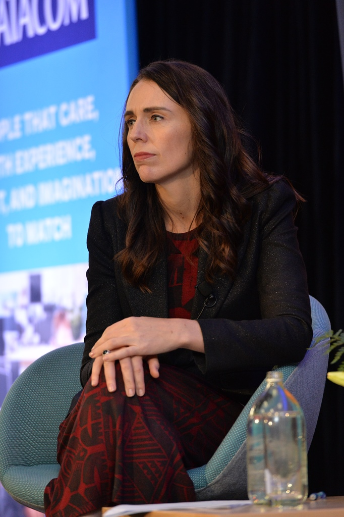 Jacinda Ardern listening to audience at NZ Asian Leaders event